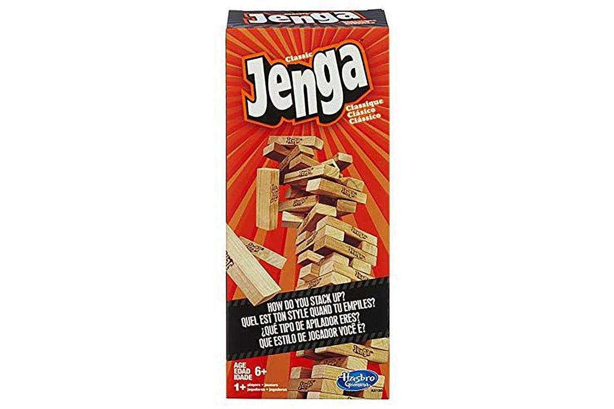 """<p><strong>Jenga</strong></p><p>amazon.com</p><p><a href=""""https://www.amazon.com/dp/B00ABA0ZOA?tag=syn-yahoo-20&ascsubtag=%5Bartid%7C10067.g.31787783%5Bsrc%7Cyahoo-us"""" target=""""_blank"""">Shop Now</a></p><p>A game of Jenga is bound to cause a raucous night. Buckle up! Stack the blocks and watch them fall, it's all part of the fun.</p>"""