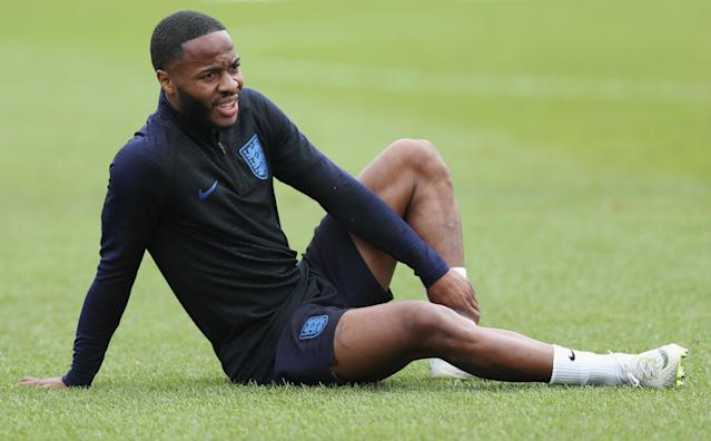 Raheem Sterling takes a breather.