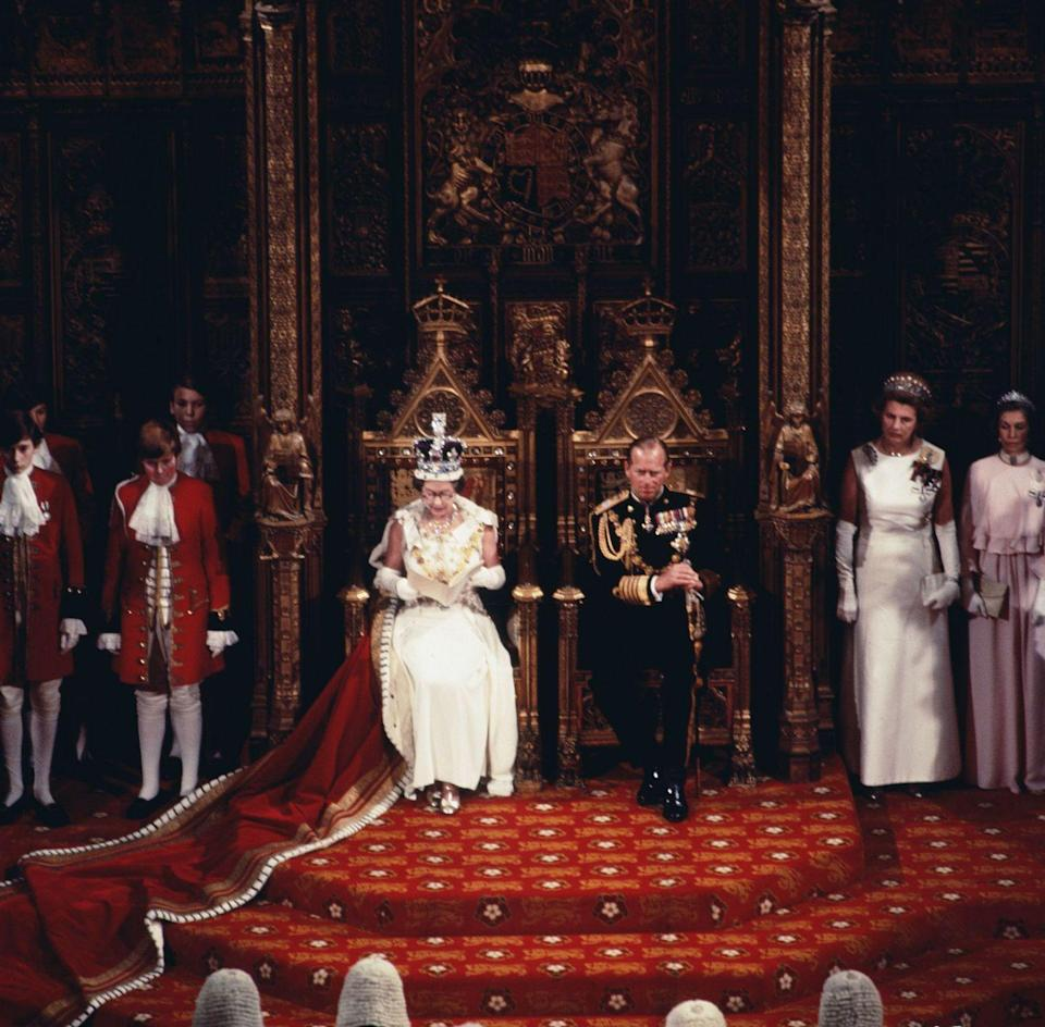 <p>The Queen and Prince Philip at the state opening of the British Parliament in 1977.</p>