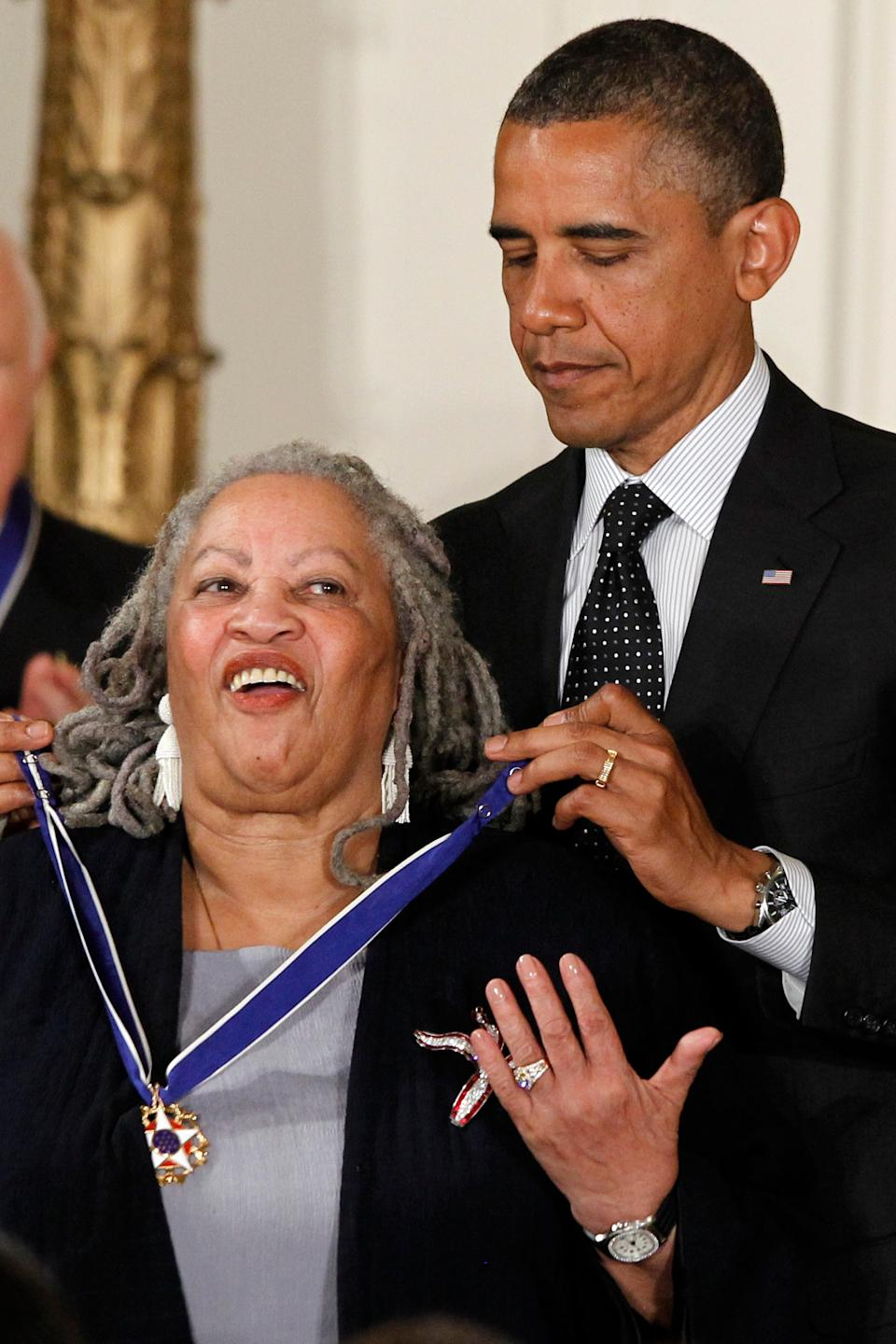 President Barack Obama awards the Medal of Freedom to author Toni Morrison at the White House on May 29, 2012.
