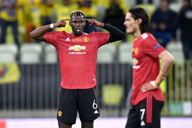 Manchester United's Paul Pogba gestures during the UEFA Europa League final, at Gdansk Stadium, Poland.