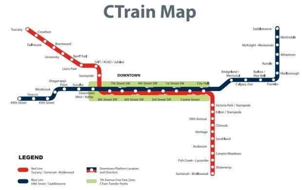 A map of Calgary's CTrain system.