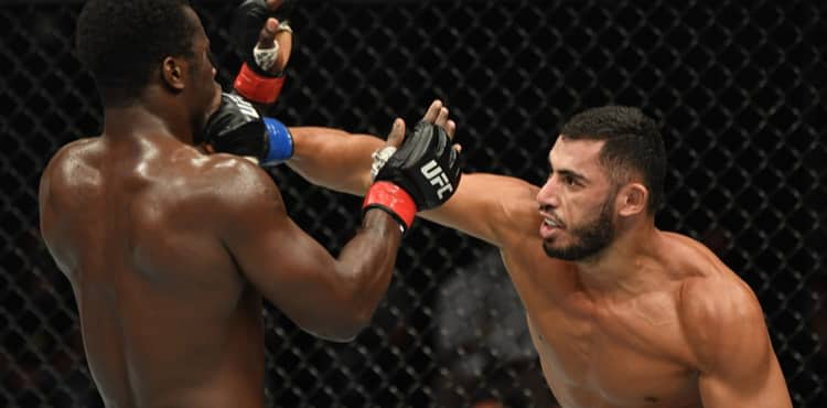 Mounir Lazzez cracks Abdul Razak Alhassan at UFC on ESPN 13 Fight Island