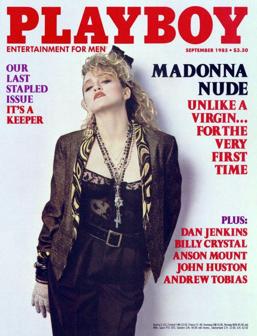 "<p><strong>Issue: </strong>September 1985</p><p>Madonna's <em>Playboy </em>cover line? ""Unlike a virgin..."" We see what you did there, Hef. </p>"