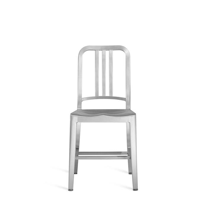 """<p><strong>Emeco </strong></p><p>emeco.net</p><p><strong>$595.00</strong></p><p><a href=""""https://www.emeco.net/variants/emeco-1006-navy-chair-brushed-us-navy"""" rel=""""nofollow noopener"""" target=""""_blank"""" data-ylk=""""slk:Shop Now"""" class=""""link rapid-noclick-resp"""">Shop Now</a></p><p>You've likely seen this chair at your local big-box store: Widely knocked-off, the original Navy chair was first introduced by Pennsylvania brand Emeco in 1944 for use on warships. It's the result of a signature, 77-step (!) process in which welders melt recycled aluminum to form the sturdy, lightweight chair. </p>"""