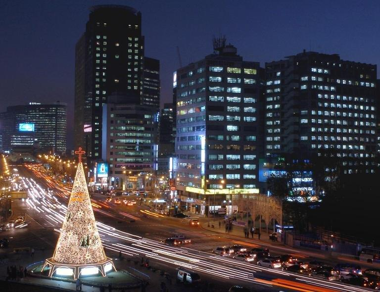 A Christmas tree decorated with lights in Seoul, South Korea's capital, on 13 December 2003