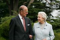 <p> In this image, made available November 18, 2007, HM The Queen Elizabeth II and Prince Philip, The Duke of Edinburgh re-visit Broadlands, to mark their Diamond Wedding Anniversary on November 20. The pair spent their wedding night at Broadlands in Hampshire in November 1947, the former home of Prince Philip's uncle, Earl Mountbatten. </p>