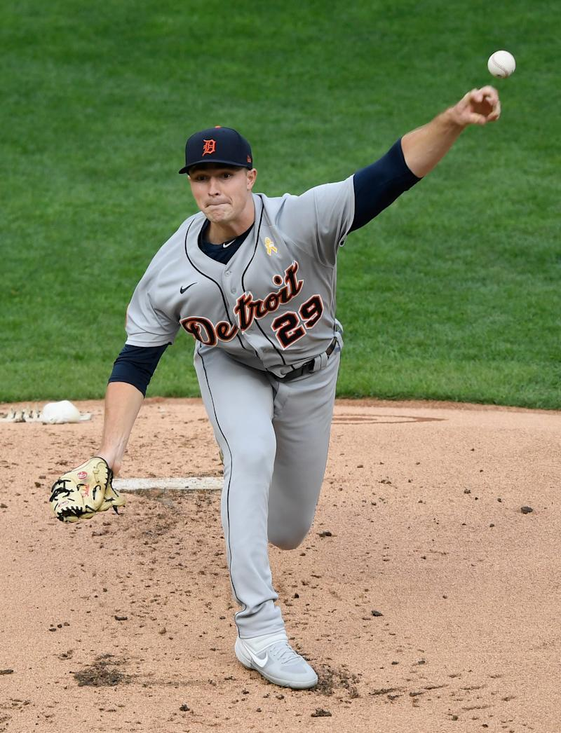 Tigers pitcher Tarik Skubal delivers a pitch against the Twins during the first inning at Target Field on Sept. 5, 2020, in Minneapolis.