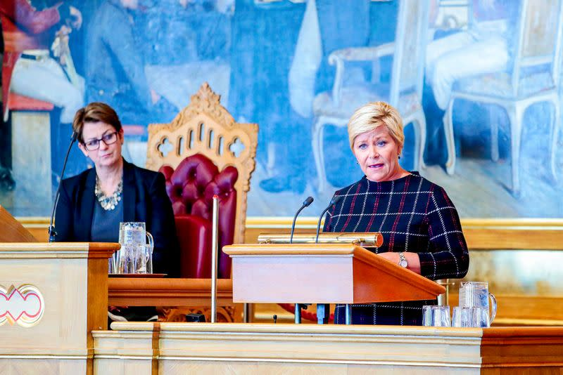 Norway's Minister of Finance Jensen presents next year's national budget in Oslo