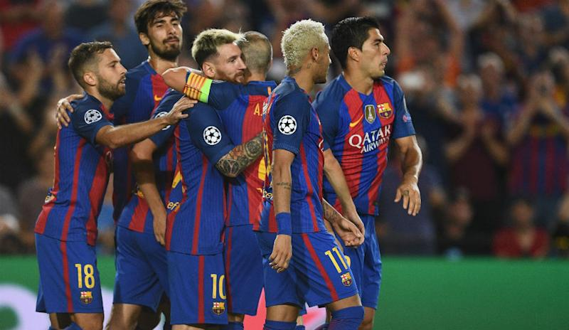 3bff67d5f Lionel Messi of Barcelona celebrates scoring his third and his sides fifth  goal with team mates