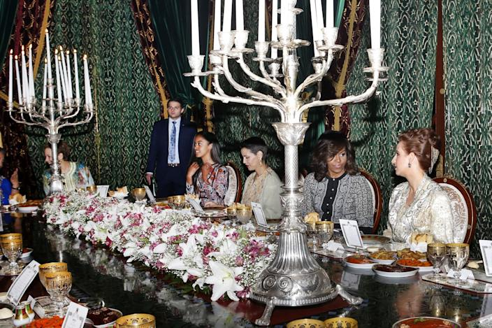 <p>From left, Sasha Obama, Princess Lalla Meryem, U.S first lady Michelle Obama, and Morocco's Princess Lalla Salma, wife of King Mohammed VI, attend an iftar dinner at the King Palace in Marrakech, Morocco, Tuesday, June 28, 2016. (AP Photo/Abdeljalil Bounhar) </p>