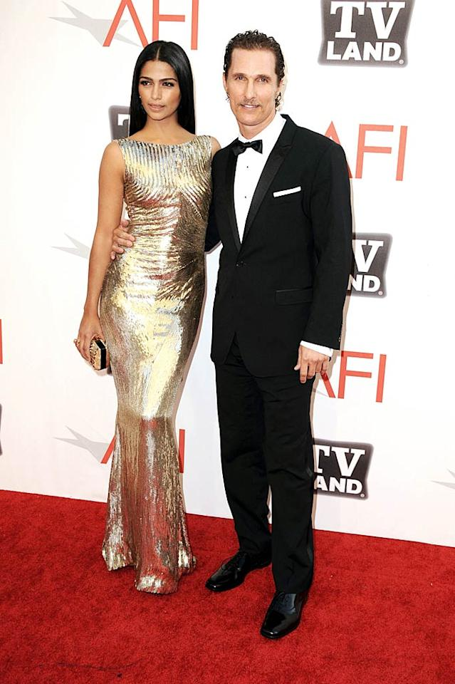"""Matthew McConaughey, who starred in the 1997 film """"Amistad"""" with Morgan, attended with his girlfriend Camila Alves, and made a toast to the guest of honor during the show. Steve Granitz/<a href=""""http://www.wireimage.com"""" target=""""new"""">WireImage.com</a> - June 9, 2011"""