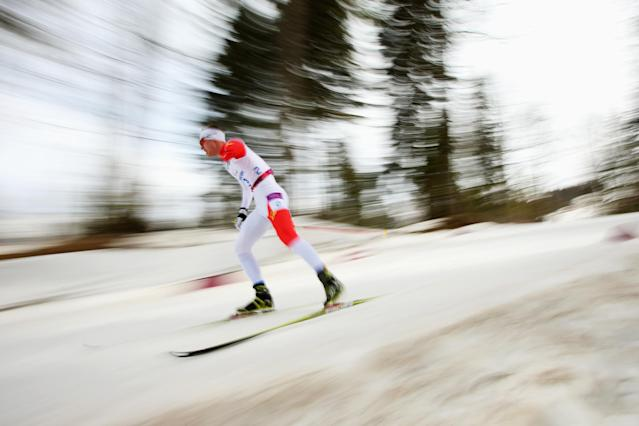 SOCHI, RUSSIA - MARCH 08: Mark Arendz of Canada competes in the men's 7.5km standing Biathlon during day one of Sochi 2014 Paralympic Winter Games at Laura Cross-country Ski & Biathlon Center on March 8, 2014 in Sochi, Russia. (Photo by Mark Kolbe/Getty Images)