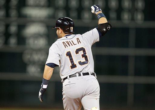 Detroit Tigers Alex Avila (13) celebrates after hitting a two-run home run during the ninth inning of a baseball game against the Houston Astros Friday, May 3, 2013, in Houston. (AP Photo/Patric Schneider)