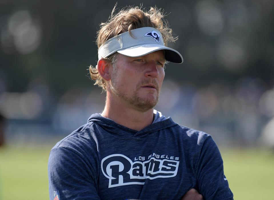 Rams GM Les Snead has set up shop in his garage as he fights COVID-19.