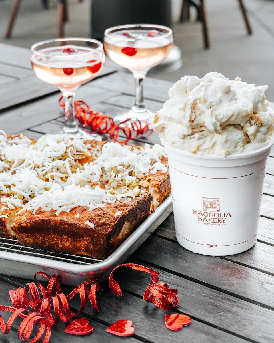 """<p>In the mood to indulge, but also looking for an activity to do on Valentine's Day? Goldbelly is hosting a <a href=""""https://www.goldbelly.com/magnolia-bakery/diy-banana-pudding-kit-emmy-squared-pizza-making-kit-live-cooking-class"""" rel=""""nofollow noopener"""" target=""""_blank"""" data-ylk=""""slk:cooking class"""" class=""""link rapid-noclick-resp"""">cooking class</a> featuring two NYC legends: Emmy Squared and Magnolia Bakery. They'll send you all of the ingredients you need ahead of time (including a cocktail kit!), and on Feb. 14 you can join the Zoom event and learn how to create the perfect date night!</p> <p><strong>$199, <a href=""""https://click.linksynergy.com/deeplink?id=93xLBvPhAeE&mid=44425&murl=https%3A%2F%2Fwww.goldbelly.com%2Fmagnolia-bakery%2Fdiy-banana-pudding-kit-emmy-squared-pizza-making-kit-live-cooking-class&u1=EWSpreadthelovewithEWsValentinesDaygiftguidemorganlLifGal29198614202101I"""" rel=""""nofollow noopener"""" target=""""_blank"""" data-ylk=""""slk:goldbelly.com"""" class=""""link rapid-noclick-resp"""">goldbelly.com</a></strong></p>"""
