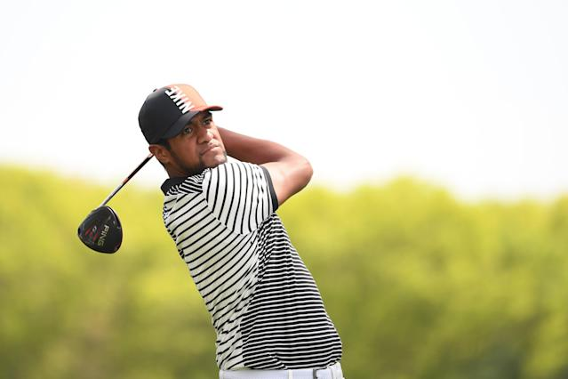 Tony Finau of the United States plays his shot from the tenth tee during the first round of the 2019 PGA Championship at the Bethpage Black course on May 16, 2019 in Farmingdale, New York. (Photo by Ross Kinnaird/Getty Images)