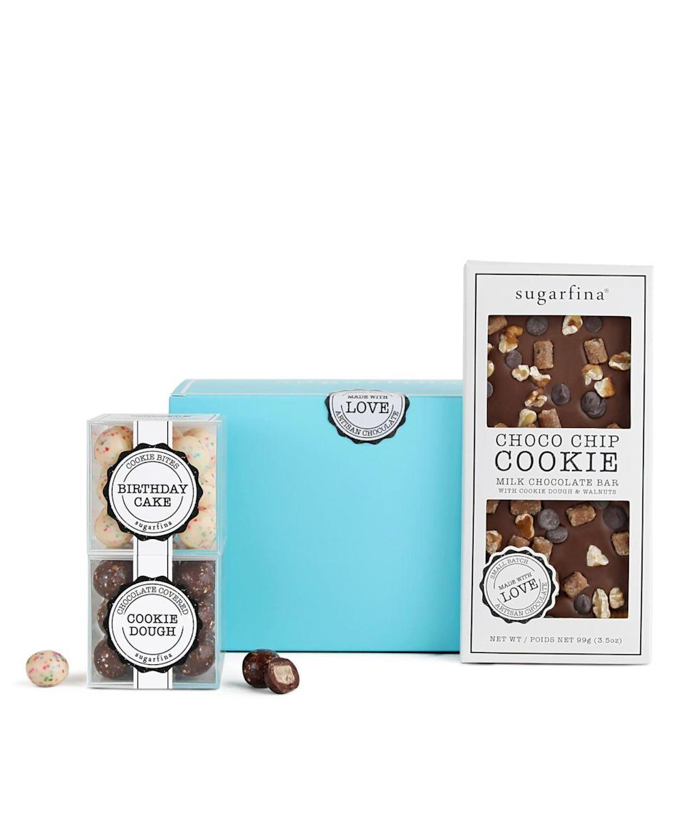 "<p><strong>Sugarfina</strong></p><p>bloomingdales.com</p><p><strong>$24.00</strong></p><p><a href=""https://go.redirectingat.com?id=74968X1596630&url=https%3A%2F%2Fwww.bloomingdales.com%2Fshop%2Fproduct%2Fsugarfina-the-cookie-collection-kit%3FID%3D3783304&sref=https%3A%2F%2Fwww.seventeen.com%2Flife%2Ffriends-family%2Fg597%2Fsecret-santa-gift-ideas%2F"" rel=""nofollow noopener"" target=""_blank"" data-ylk=""slk:Shop Now"" class=""link rapid-noclick-resp"">Shop Now</a></p><p>This kit reads like a list of Buddy the Elf's favorite foods: raw cookie dough, cooked cookie dough, and birthday cake.</p>"