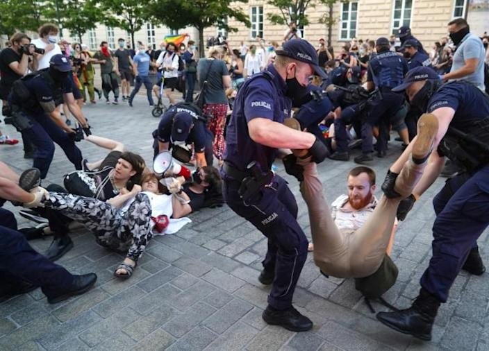 Warsaw police said 48 people were arrested during the protest