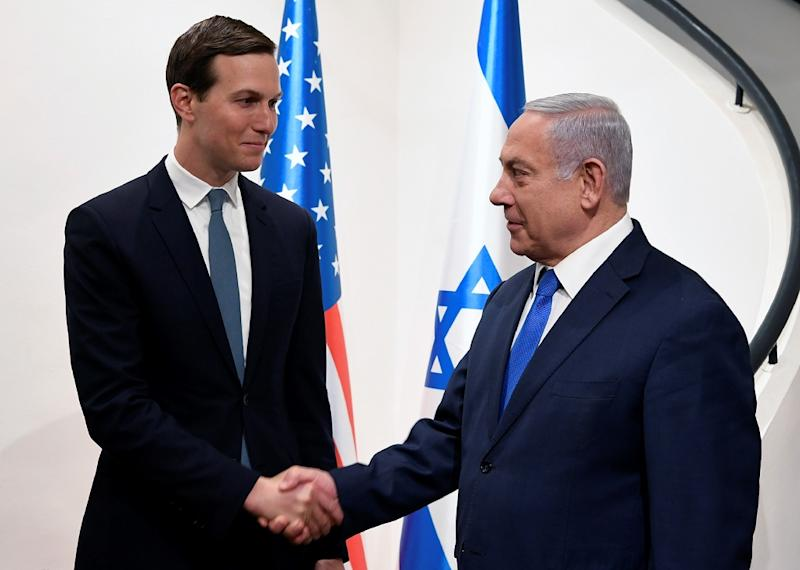 Jared Kushner, President Donald Trump's son-in-law and adviser, meets Israeli Prime Minister Benjamin Netanyahu on a May 2019 visit to Jerusalem (AFP Photo/Matty Stern)