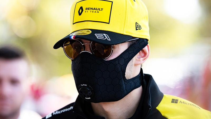 Esteban Ocon, pictured here wearing a mask at the Australian Formula One Grand Prix.
