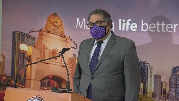 Calgary Mayor Naheed Nenshi provided an update on Tuesday regarding the city's efforts to support the community as the COVID-19 pandemic continues. (Mike Symington/CBC - image credit)