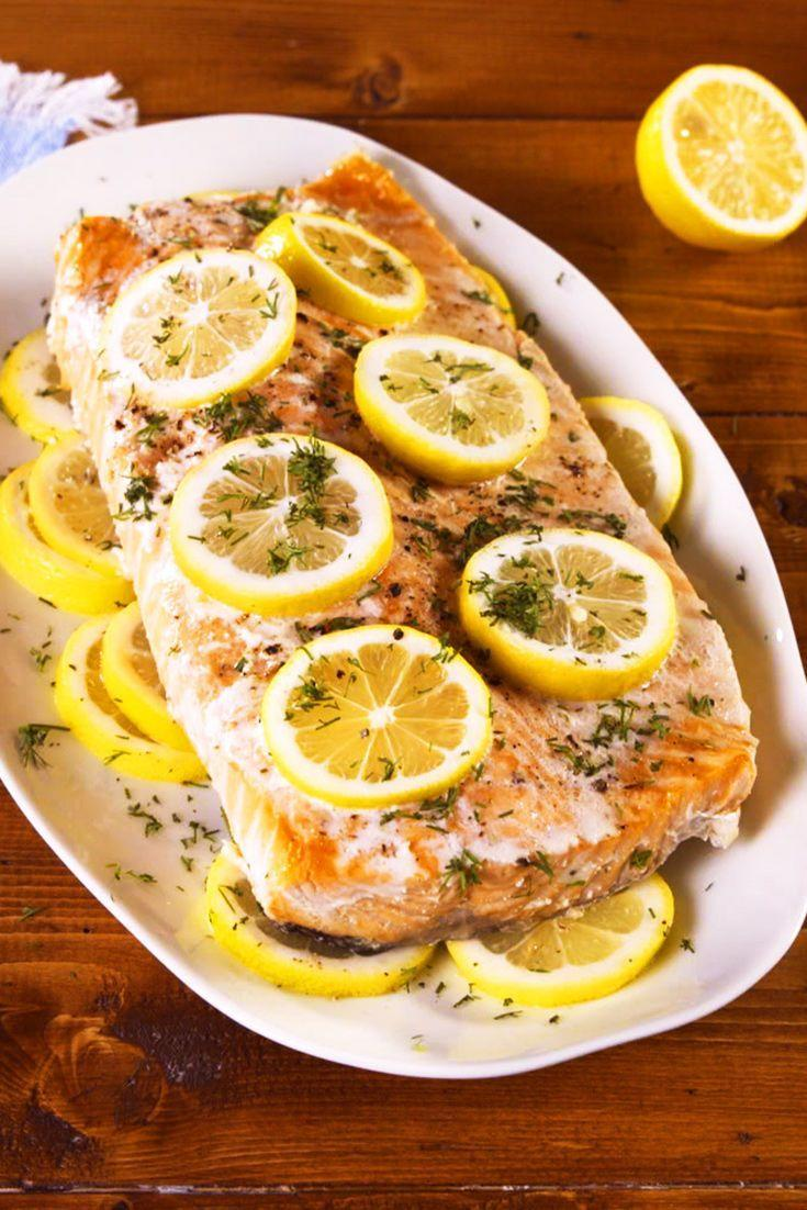 """<p>Serve with a side salad or over farro or brown rice! </p><p>Get the recipe from <a href=""""https://www.delish.com/cooking/recipe-ideas/a23581031/slow-cooker-salmon-recipe/"""" rel=""""nofollow noopener"""" target=""""_blank"""" data-ylk=""""slk:Delish"""" class=""""link rapid-noclick-resp"""">Delish</a>.</p>"""