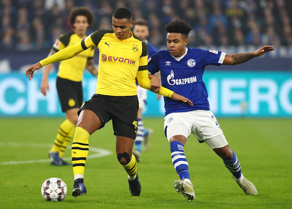 The marquee match of the Bundesliga's May 16 (re)opening day is the Revierderby between Weston McKennie (right) and Schalke 04 and Borussia Dortmund. (Getty Images)