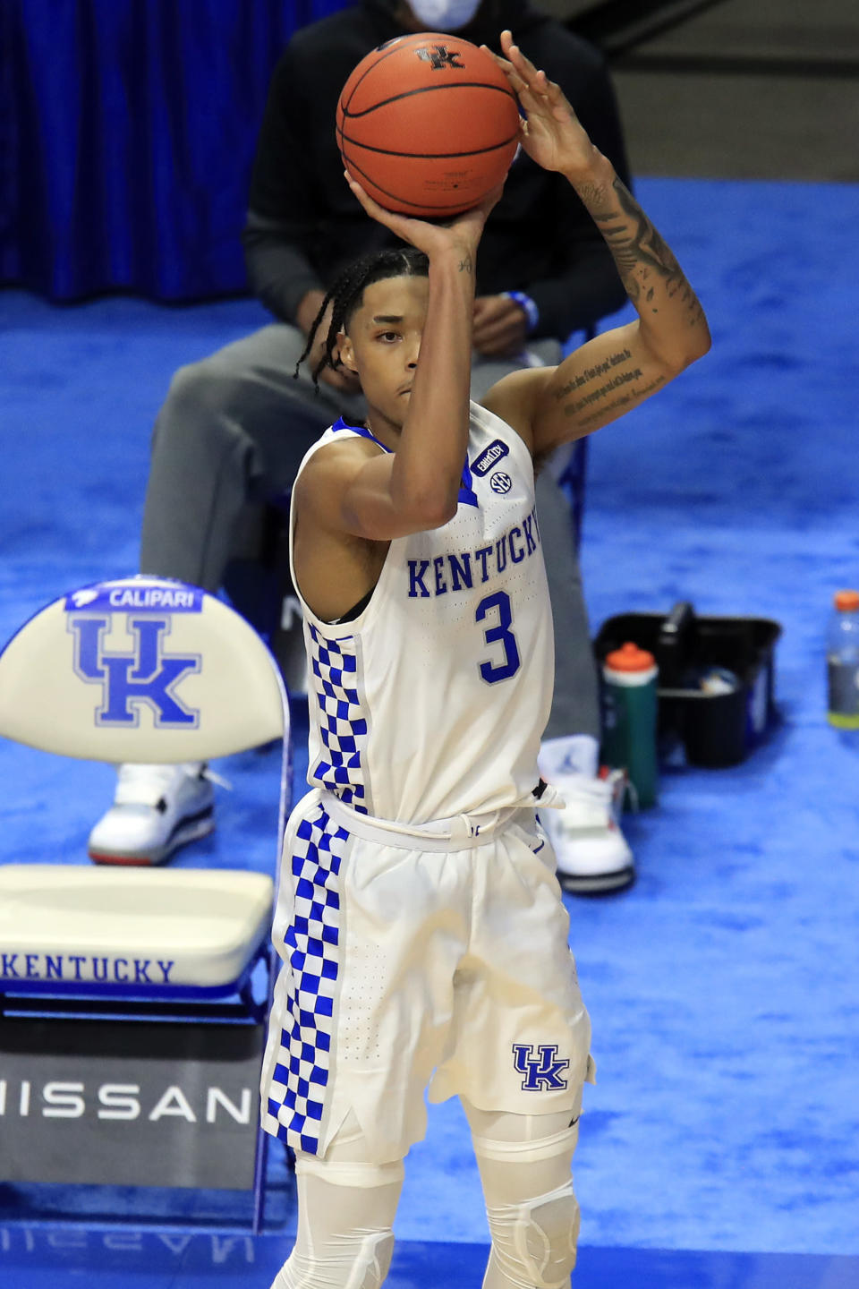 Kentucky's B.J. Boston shoots during the second half of the team's NCAA college basketball game against Morehead State in Lexington, Ky., Wednesday, Nov. 25, 2020. Kentucky won 81-45. (AP Photo/James Crisp)