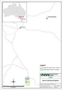 Map showing Kalamazoo's Queens Project in relation to GBM Resources Limited's Malmsbury Project and Kirkland Lake Gold's Fosterville mine in the Victorian goldfields.