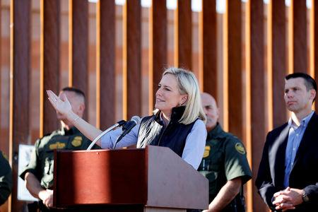 U.S. Department of Homeland Security Secretary Kirstjen Nielsen visits U.S. President Donald Trump's border wall in the El Centro Sector in Calexico