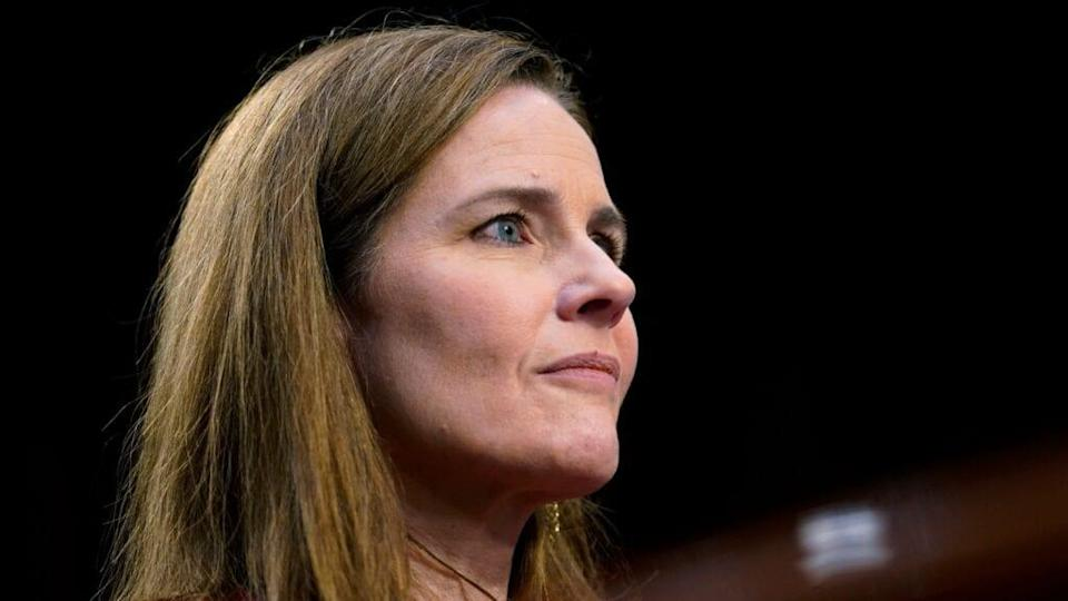 Supreme Court nominee Judge Amy Coney Barrett looks on during her second day of confirmation hearings before the Senate Judiciary Committee on Capitol Hill Tuesday. (Photo by Patrick Semansky-Pool/Getty Images)
