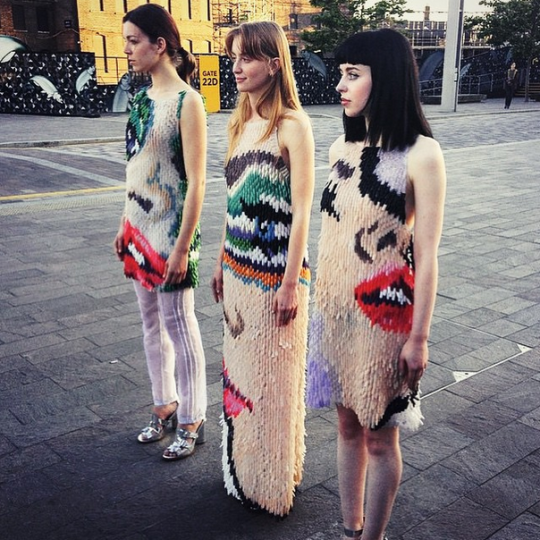 """<p>Sick of making clothing embellished with beads, Central Saint Martins grad Anna Goswami—a self proclaimed fan of nail art—chose to design a collection of graphic dresses made from <a href=""""http://mashable.com/2015/07/06/dress-fake-nails/"""" rel=""""nofollow noopener"""" target=""""_blank"""" data-ylk=""""slk:false plastic fingernails"""" class=""""link rapid-noclick-resp"""">false plastic fingernails</a>! Creepy? Totally. But also insanely creative. We'd say she nailed it. (HEHE.)</p>"""