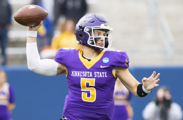 Minnesota State quarterback Ryan Schlichte throws a pass during the Division II championship NCAA college football game against West Florida on Saturday, Dec. 21, 2019, in McKinney, Texas. (AP Photo/Gareth Patterson)