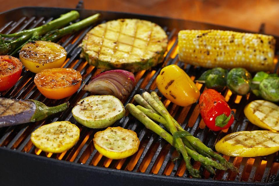 """<p>While soaking starchy vegetables may be helpful, you'll want to avoid marinating or soaking with any other type of veggie. Even salt can be dangerous. </p><p>""""Adding salt to the vegetables before, especially something like eggplant, releases moisture and creates steam on the grill,"""" Chef Scarleth Aguilar of <a href=""""https://sietefoods.com/"""" rel=""""nofollow noopener"""" target=""""_blank"""" data-ylk=""""slk:Siete Family Foods"""" class=""""link rapid-noclick-resp"""">Siete Family Foods</a> tells Woman's Day. """"I typically grill them bare, on a very hot grill, and after toss them in a very flavorful marinate or pesto, once they have good grill marks.""""</p><p>Aguilar also recommends cutting the veggies into thin planks or rounds to give them more surface area to get a good char all around and to keep them from falling through the grates. </p>"""