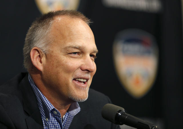 Miami head coach Mark Richt speaks at an NCAA college football news conference in Fort Lauderdale, Fla., Friday, Dec. 29, 2017. Miami plays Wisconsin in the Orange Bowl on Saturday, Dec. 30. (AP Photo/Joe Skipper)