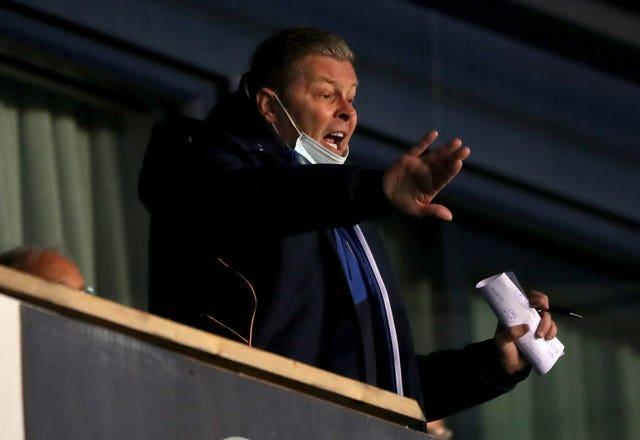Shrewsbury manager Steve Cotterill in the stands