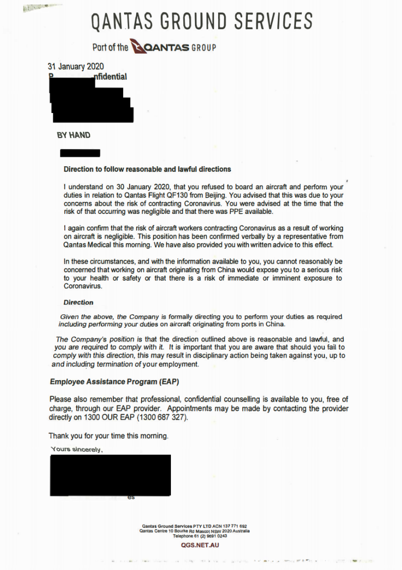 The letter provided to the Qantas employee that has been stood down pending an investigation. (Source: Supplied)