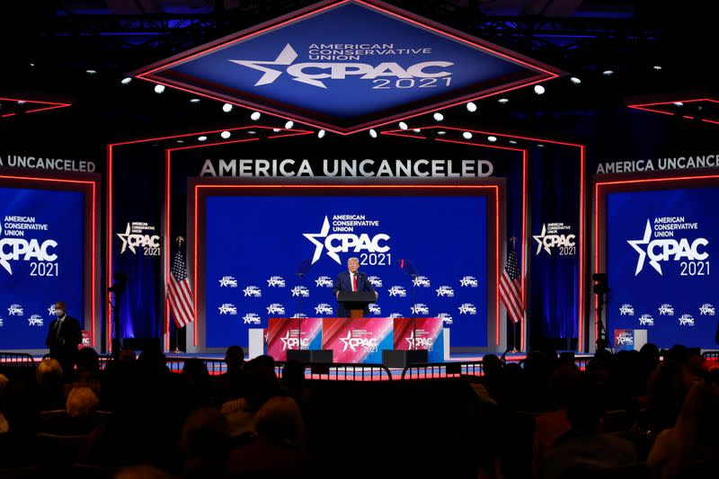 Former U.S. President Donald Trump speaks at the Conservative Political Action Conference in Orlando