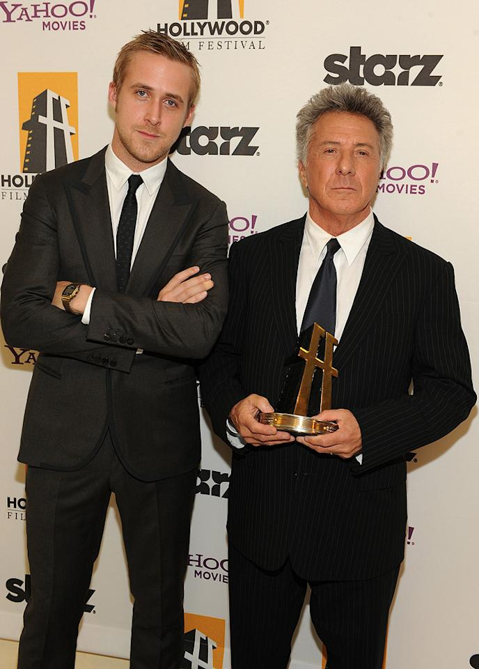 "<a href=""http://movies.yahoo.com/movie/contributor/1804035474"">Ryan Gosling</a> and <a href=""http://movies.yahoo.com/movie/contributor/1800014129"">Dustin Hoffman</a> backstage at the 12th Annual Hollywood Film Festival Awards Gala in Beverly Hills - 10/27/2008"