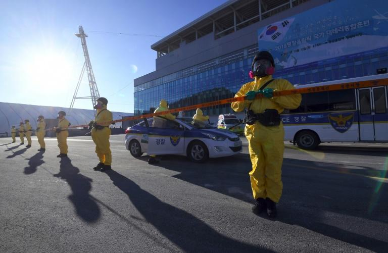 South Korean police stand guard during an anti-terror drill at the Pyeongchang Olympic Stadium