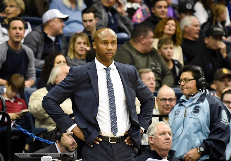 San Diego head coach Lamont Smith looks on during the first half of an NCAA college basketball game against Gonzaga Thursday, Feb. 22, 2018, in San Diego. (AP Photo/Denis Poroy)