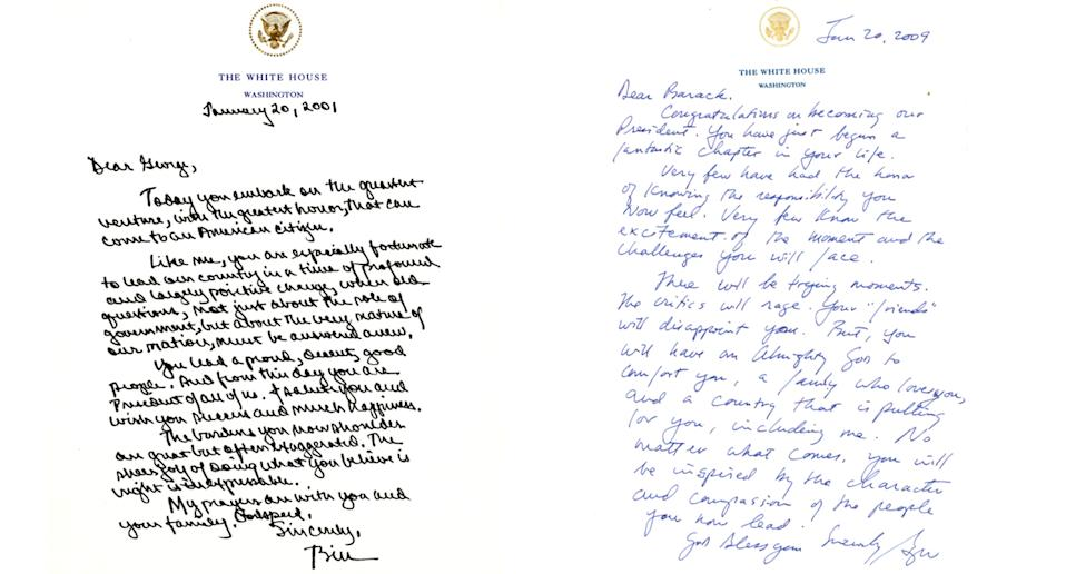 Left, the letter from Bill Clinton to George W. Bush and right, the subsequent letter to incoming president Barack Obama. Source: Presidential libraries