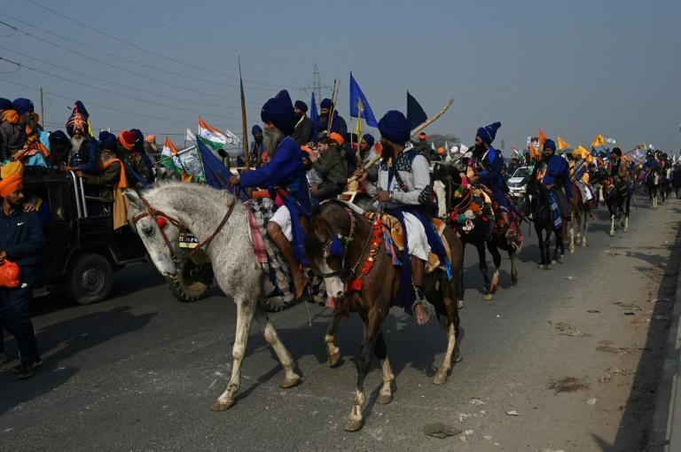 Nihangs, mounted Sikh warriors, also rallied in support of the farmers