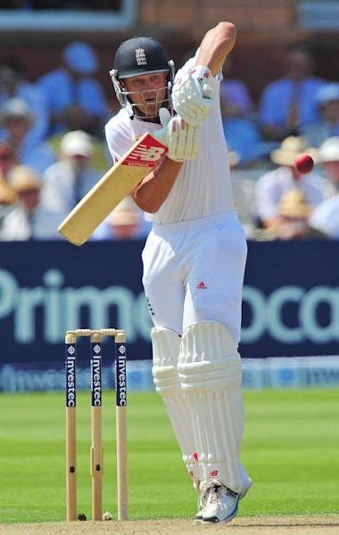 England's Jonathan Trott bats against Australia during play on the first day of the second Ashes cricket test match at Lord's cricket ground in London, on July 18, 2013. England were 289 for seven at stumps on the first day