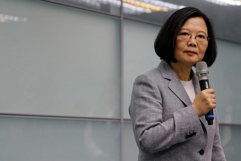 Taiwan President Tsai Ing-wen speaks before signing up for Democratic Progressive Party's 2020 presidential candidate nomination in Taipei