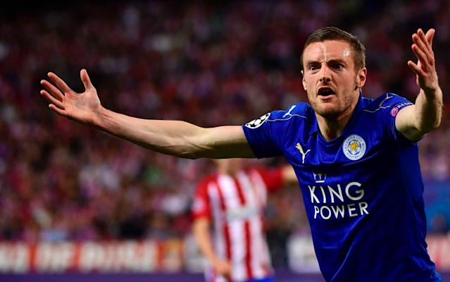 <span>Jamie Vardy cut a frustrated figure at Vicente Calderón Stadium</span> <span>Credit: Getty Images </span>