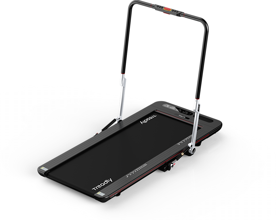 """<h2>Treadly 2 Basic</h2><br>The ultimate at-home workout luxury, this ultra-thin and light treadmill is perfect for daily powerwalks or jogs and folds up for easy storage. <br><br><strong>Treadly</strong> Treadly 2 Basic, $, available at <a href=""""https://go.skimresources.com/?id=30283X879131&url=https%3A%2F%2Ftreadly.co%2Forder-treadly-2"""" rel=""""nofollow noopener"""" target=""""_blank"""" data-ylk=""""slk:Treadly"""" class=""""link rapid-noclick-resp"""">Treadly</a>"""