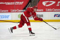 Detroit Red Wings forward Jakub Vrana shoots the puck for a goal during the second period of an NHL hockey game against the Chicago Blackhawks, Thursday, April 15, 2021, in Detroit. (AP Photo/Carlos Osorio)
