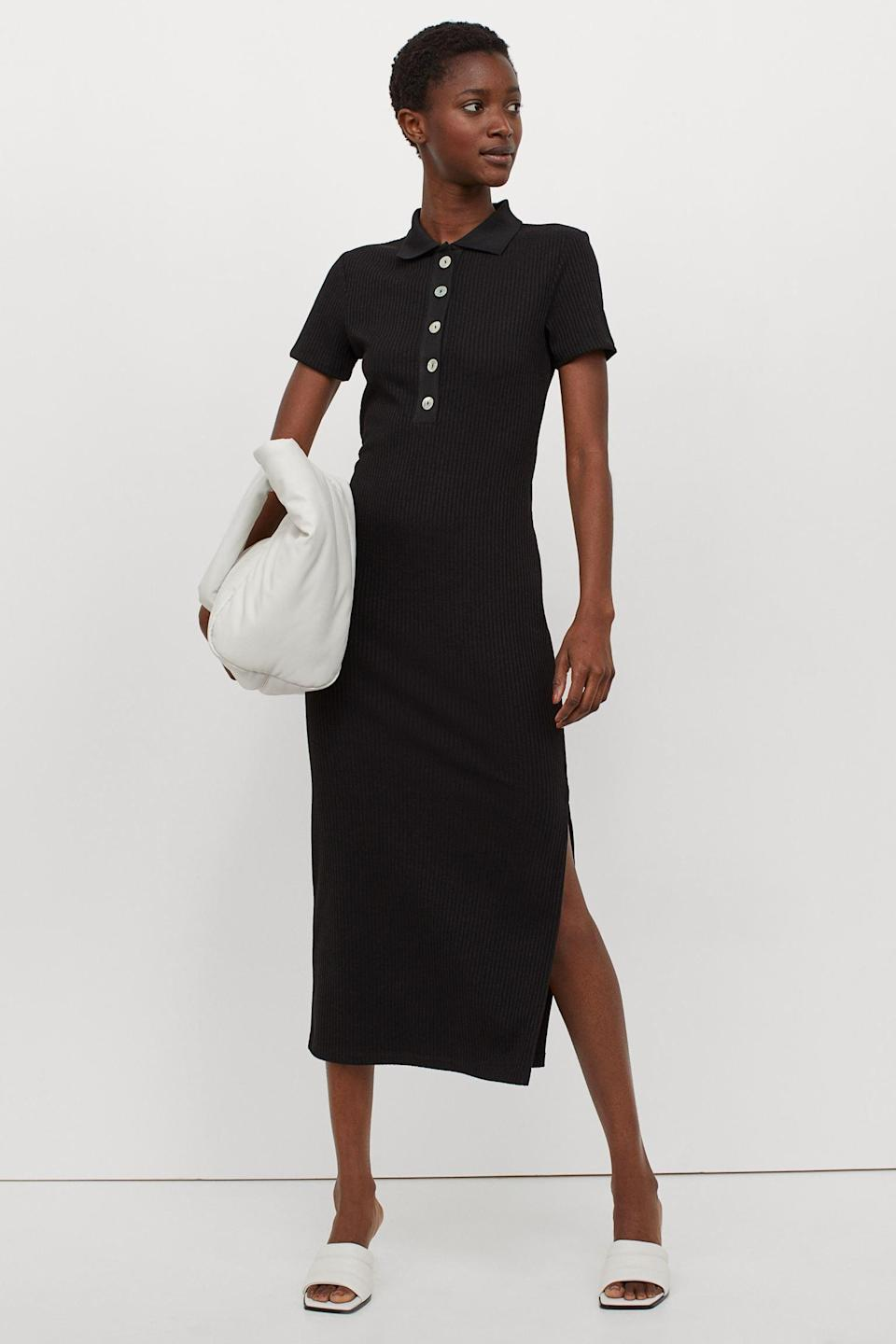 <p>This <span>Collared Ribbed Dress</span> ($50) will pair beautifully with some low-heeled mules.</p>